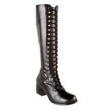 Schwarz Matt 5 cm RETRO-302 Damen Schnürstiefel High Heels