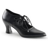 Schwarz Matt 7 cm VICTORIAN-03 Damen Pumps Schuhe Flach