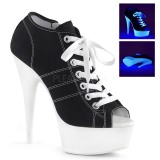 Schwarz Neon 15 cm DELIGHT-600SK-01 Leinenstoff high heels chucks