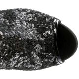 Schwarz Pailletten 15 cm PLEASER BLONDIE-R-3011 Plateau Überkniestiefel
