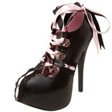 Schwarz Rosa 14,5 cm Burlesque TEEZE-13 Damenschuhe mit hohem Absatz