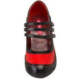 Schwarz Rot 11,5 cm rockabilly TEMPT-10 Damenschuhe mit hohem Absatz