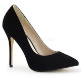 Schwarz Samt 13 cm AMUSE-20 Damen Pumps Stiletto Absatz