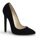 Schwarz Samt 13 cm SEXY-20 Damen Pumps Schuhe Flach