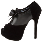 Schwarz Samt 14,5 cm Burlesque TEEZE-16 Damenschuhe mit hohem Absatz