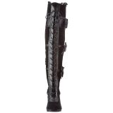 Schwarz Samt 9,5 cm GLAM-300 Overknees Damenstiefel
