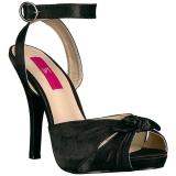 Schwarz Satin 12,5 cm EVE-01 grosse grössen sandaletten damen