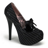 Schwarz Satin 14,5 cm Burlesque BORDELLO TEEZE-01 Plateau Pumps