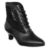 Schwarz Spitzenstoff 5 cm DAME-05 Damen Stiefeletten mit Schnürsenkel