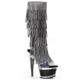 Schwarz Strass 16,5 cm ILLUSION-2017RSF Damen stiefel mit fransen