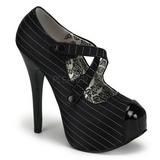 Schwarz Streifen 14,5 cm Burlesque TEEZE-23 Damenschuhe mit hohem Absatz