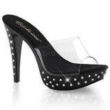 Schwarz Transparent 14 cm COCKTAIL-501SDT Mules Strass Heel