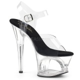 Schwarz Transparent 18 cm MOON-708 Plateau High Heels