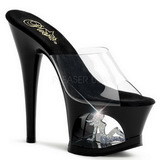 Schwarz Transparent 18 cm Pleaser MOON-701TG Plateau High Mules