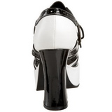Schwarz Weiss 11 cm GANGSTER-15 Damenschuhe mit hohem Absatz
