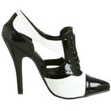 Schwarz Weiss 13 cm SEDUCE-458 Oxford Damenschuhe mit hohem Absatz