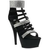 Schwarz gladiator 15 cm KISS-294 Sandaletten mit hohen Absätzen