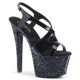 Schwarz glitter 18 cm Pleaser SKY-330LG pole dance high heels schuhe