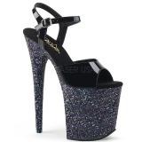 Schwarz glitter 20 cm Pleaser FLAMINGO-809LG pole dance high heels schuhe