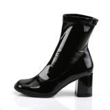Schwarz lackleder 7,5 cm GOGO-150 stretch ankel boots mit blockabsatz