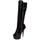 Schwarz lackstiefel 15,5 cm DELIGHT-2023 plateau schnürstiefel high heels