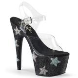 Schwarz strasssteine 18 cm ADORE-708STAR pole dance high heels schuhe