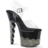 Schwarz strasssteine 18 cm SCALLOP-708-2RS pole dance high heels schuhe