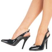 Schwarze lackpumps 13 cm SEDUCE-317 slingback spitze pumps high heels