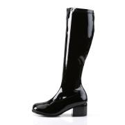 Schwarze lackstiefel blockabsatz 5 cm - 70er jahre hippie disco kniehohe boots gogo