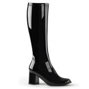 Schwarze lackstiefel blockabsatz 7,5 cm - 70er jahre hippie disco kniehohe boots gogo
