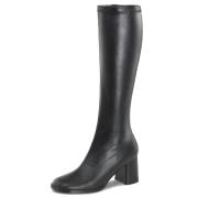 Schwarze stiefel blockabsatz 7,5 cm vinylleder - 70er jahre hippie disco kniehohe boots gogo