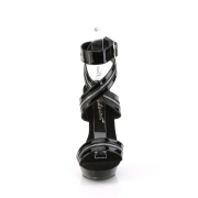 Schwarze stöckelschuhe plateau 15 cm SULTRY-619 Lack stöckelschuhe