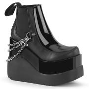 Schwarze vegan boots 13 cm VOID-50 demonia wedge keilstiefel mit plateau