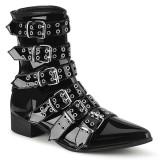 Shiny WARLOCK-70 demonia pointed boots - mens winklepicker boots 6 buckles