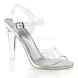 Silber 11,5 cm CLEARLY-408 Abend Sandaletten mit Absatz