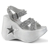 Silber 13 cm Demonia DYNAMITE-02 lolita schuhe wedge sandaletten
