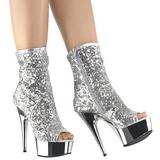 Silber 15 cm DELIGHT-1008SQ damen stiefeletten mit pailletten