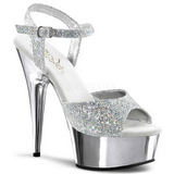 Silber 15 cm Pleaser DELIGHT-609G Chrome Plateau High Heel