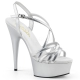 Silber 15 cm Pleaser DELIGHT-613 Sandaletten mit High Heels