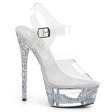 Silber 16,5 cm ECLIPSE-608GT Sandaletten mit stiletto absatz