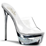 Silber 16,5 cm Pleaser ECLIPSE-601DM Strass Plateau High Mules
