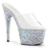 Silber 18 cm ADORE-701LG glitter plateau pantoletten damen