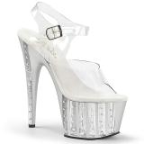 Silber 18 cm ADORE-708VLRS plateau high heels mit strass steinen