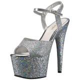Silber 18 cm ADORE-710LG glitter plateau high heels