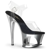 Silber 18 cm MOON-708 Chrome Plateau High Heels