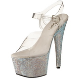 Silber 18 cm Pleaser BEJEWELED-708DM Strass Plateau High Heels