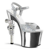 Silber 18 cm Pleaser REVOLVER-709G Chrome Plateau High Heels