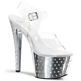 Silber 18 cm Pleaser STARDUST-708 Chrome Plateau High Heels