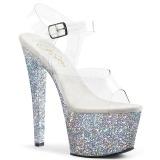 Silber 18 cm SKY-308LG glitter plateau high heels
