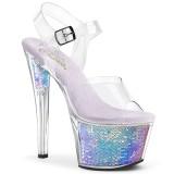 Silber 18 cm SKY-308MC Hologramm plateau high heels